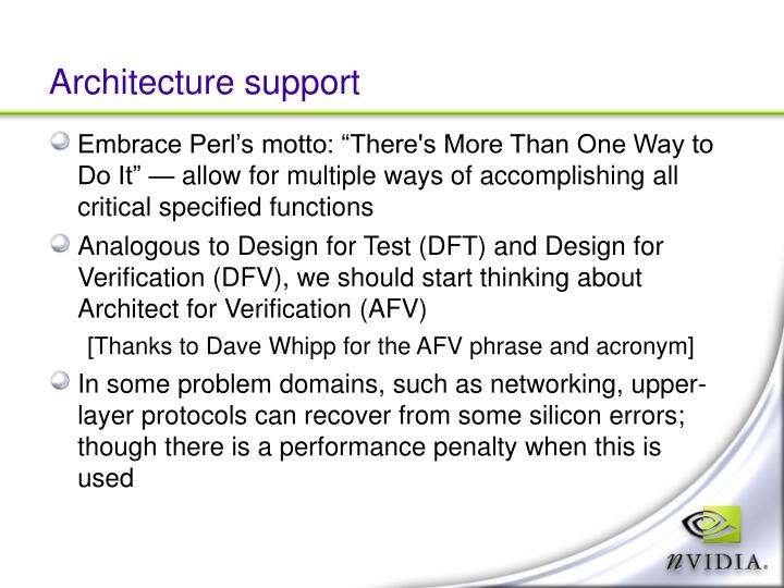 Architecture support