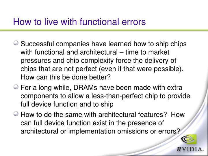 How to live with functional errors
