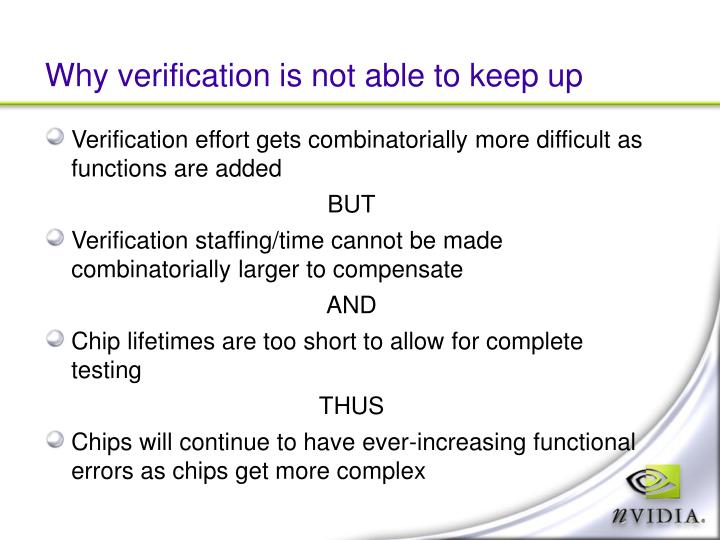 Why verification is not able to keep up
