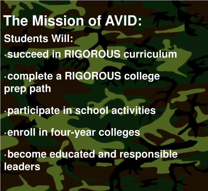 The Mission of AVID:
