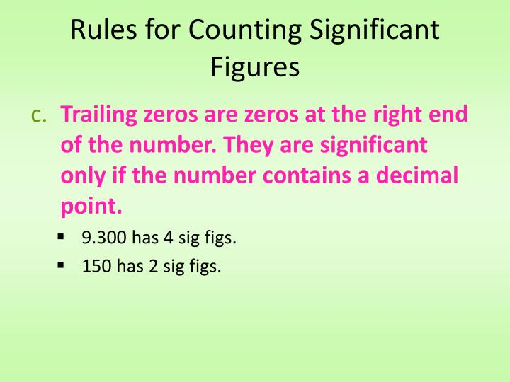 Rules for Counting Significant Figures