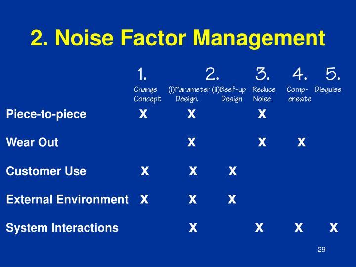 2. Noise Factor Management