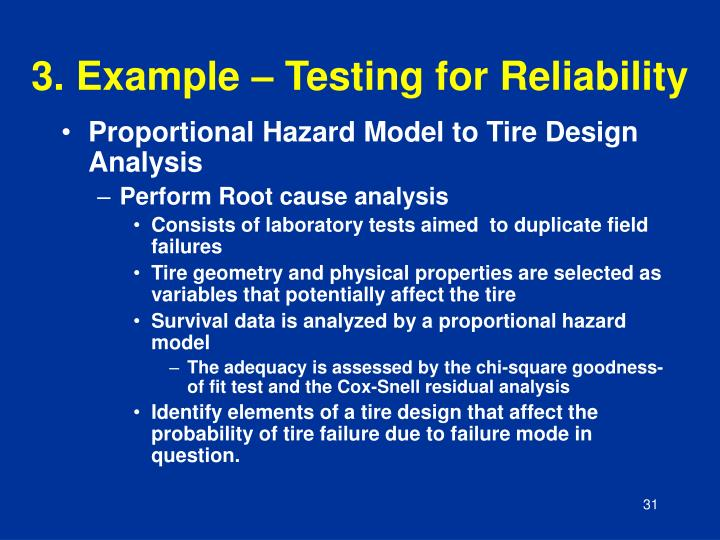 3. Example – Testing for Reliability