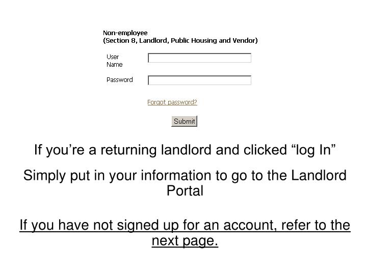 "If you're a returning landlord and clicked ""log In"""