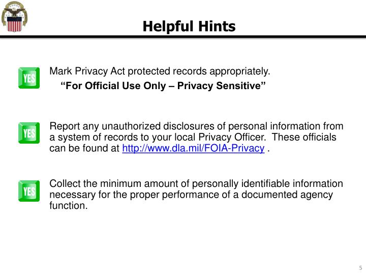 Mark Privacy Act protected records appropriately.
