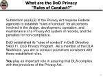 what are the dod privacy rules of conduct