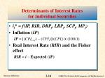 determinants of interest rates for individual securities