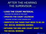 after the hearing the supervisor