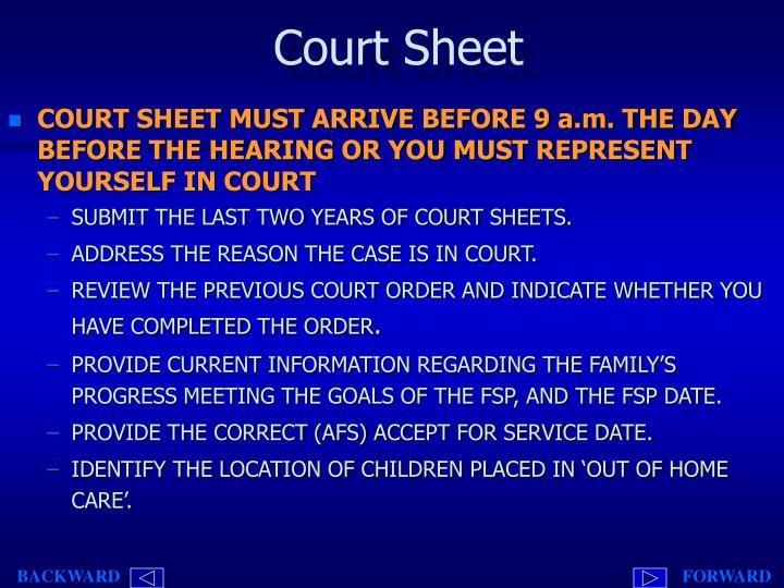 Court Sheet