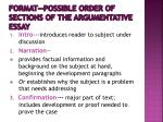 format possible order of sections of the argumentative essay