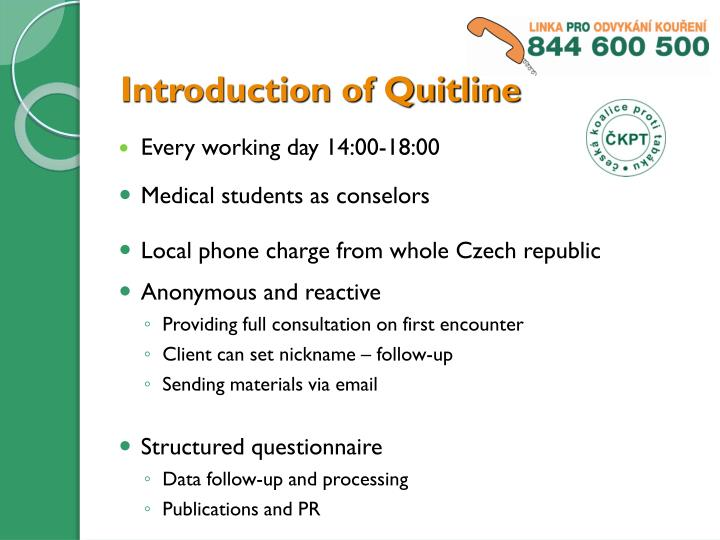Introduction of Quitline