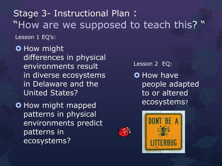 Stage 3- Instructional Plan