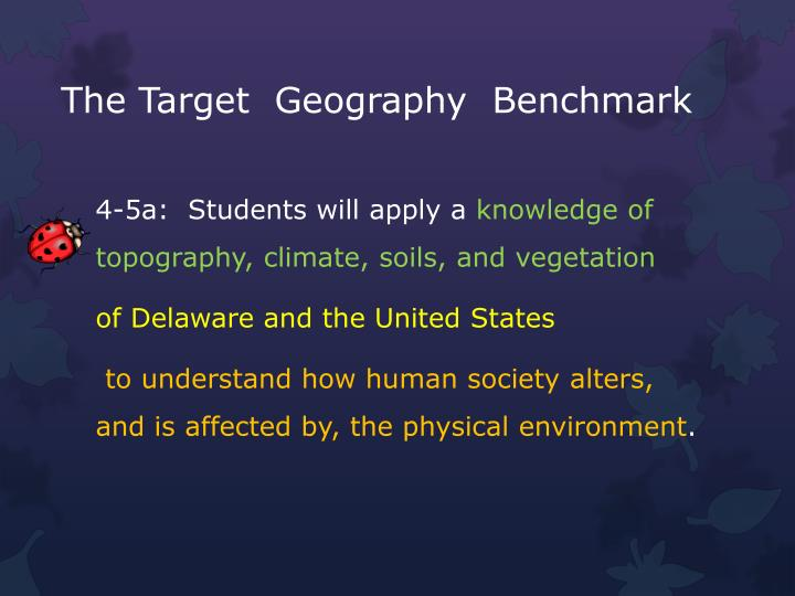 The Target  Geography  Benchmark