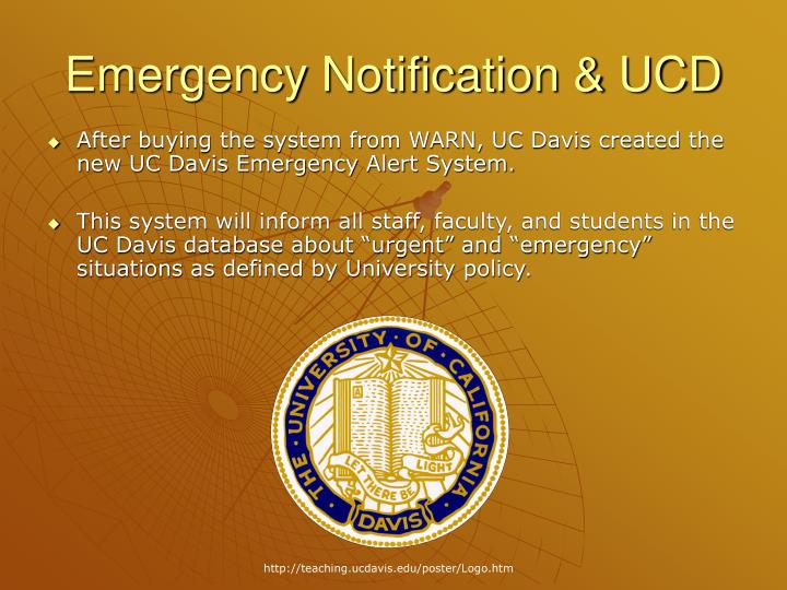 Emergency Notification & UCD