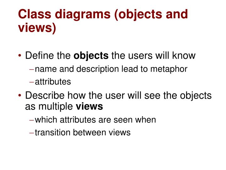 Class diagrams (objects and views)