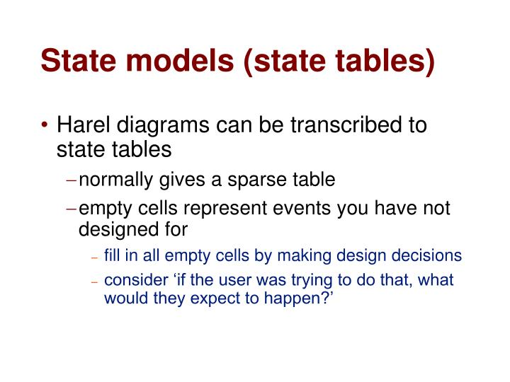 State models (state tables)