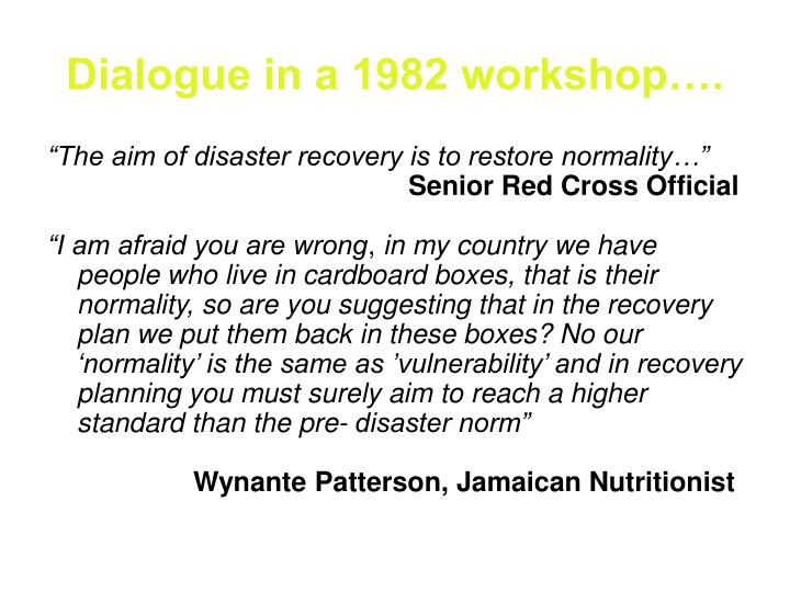 Dialogue in a 1982 workshop….
