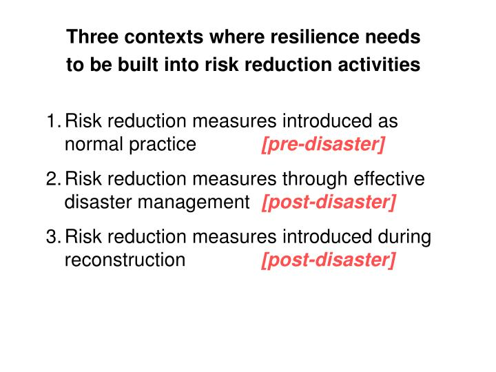 Risk reduction measures introduced as normal practice