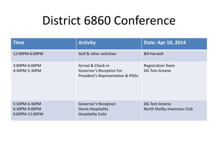 District 6860 conference
