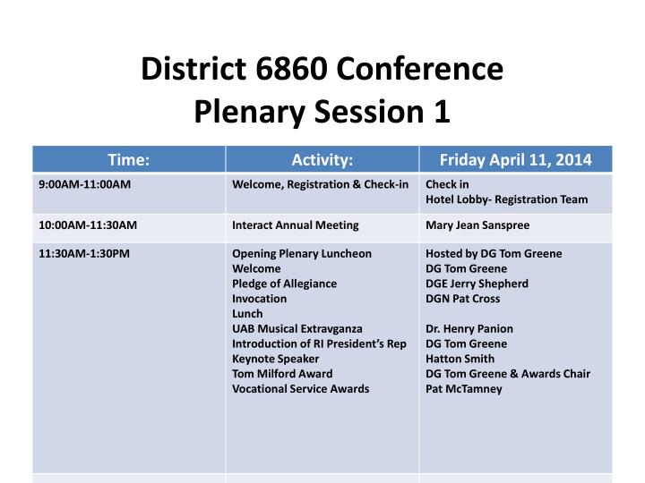 District 6860 conference plenary session 1
