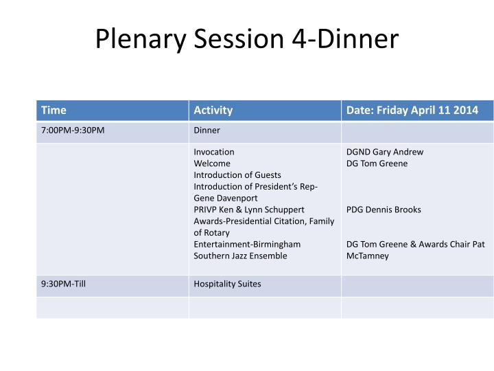 Plenary Session 4-Dinner