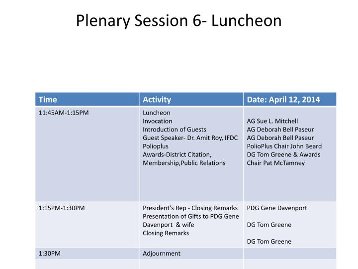 Plenary Session 6- Luncheon