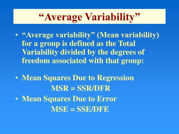 """""""Average Variability"""""""
