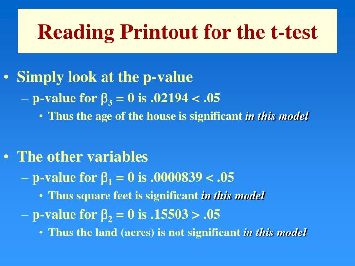 Reading Printout for the t-test