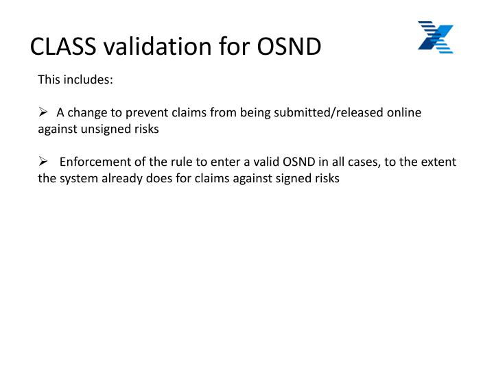 CLASS validation for OSND