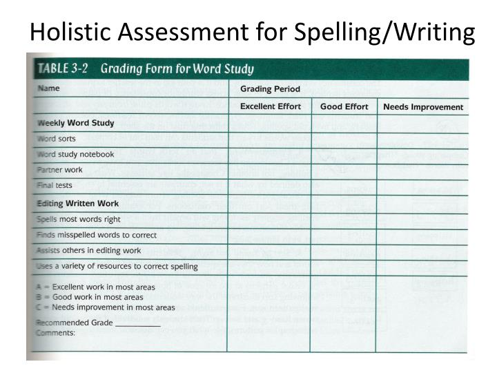 Holistic Assessment for Spelling/Writing