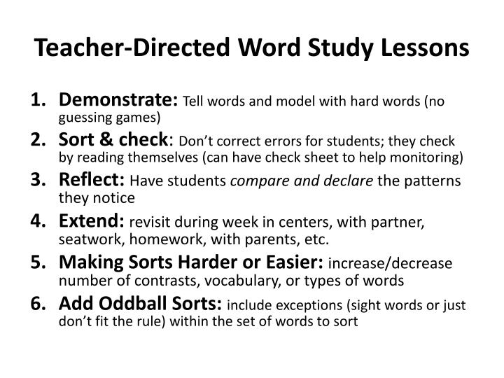 Teacher-Directed Word Study Lessons