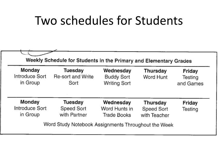 Two schedules for Students
