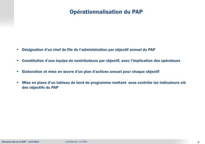 Désignation d'un chef de file de l'administration par objectif annuel du PAP