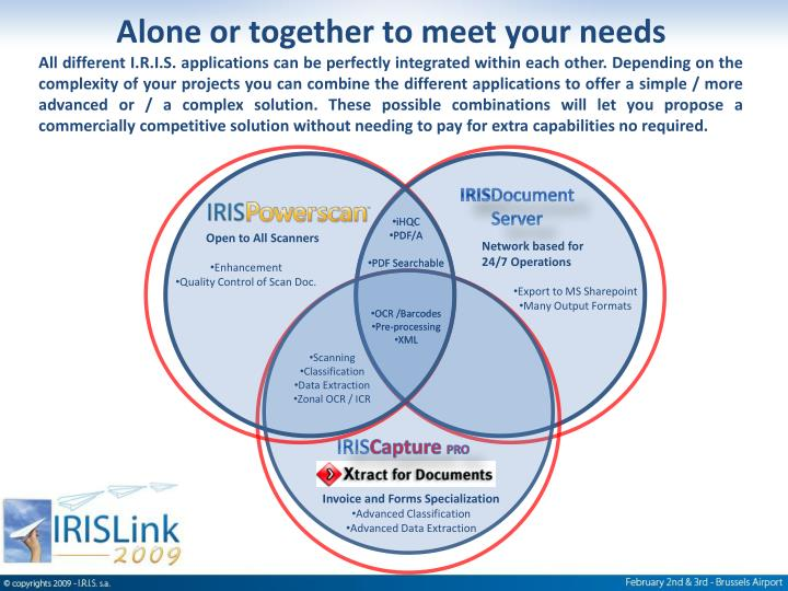 Alone or together to meet your needs