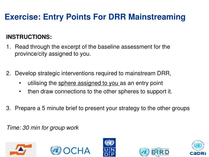 Exercise: Entry Points For DRR Mainstreaming