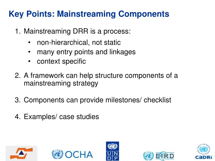 Key Points: Mainstreaming Components