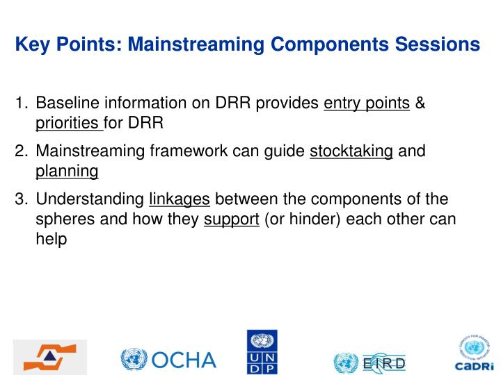 Key Points: Mainstreaming Components Sessions