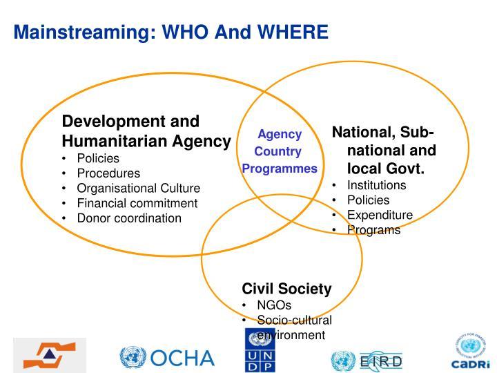 Mainstreaming: WHO And WHERE