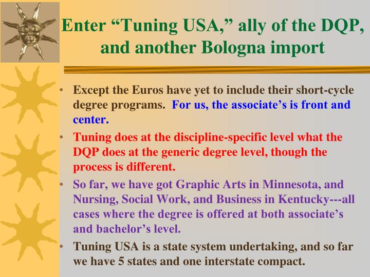 "Enter ""Tuning USA,"" ally of the DQP, and another Bologna import"