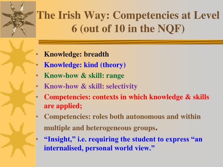 The Irish Way: Competencies at Level 6 (out of 10 in the NQF)