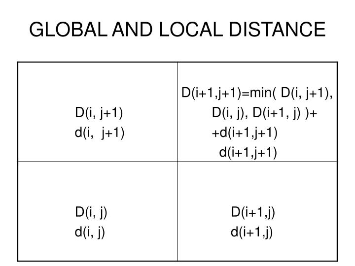 GLOBAL AND LOCAL DISTANCE