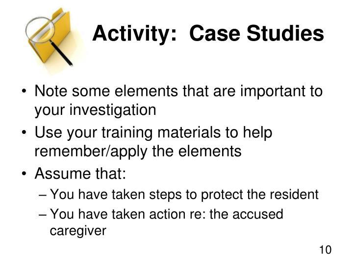Activity:  Case Studies