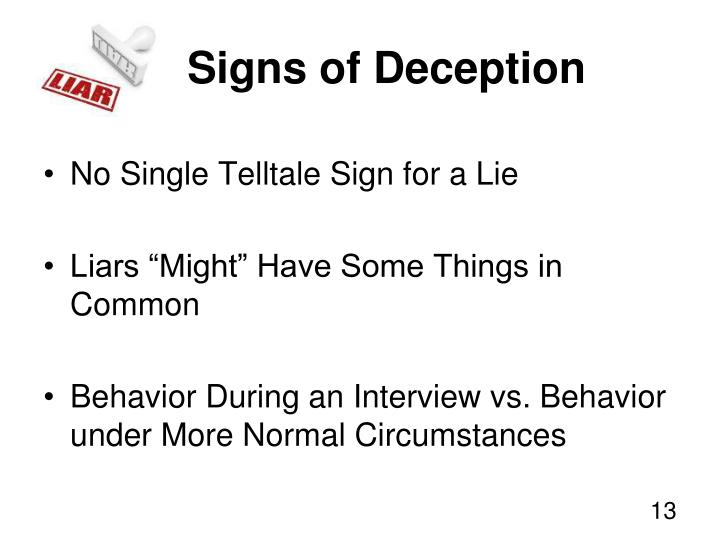 Signs of Deception