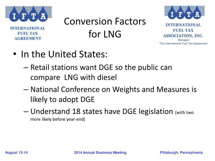 Conversion Factors for LNG