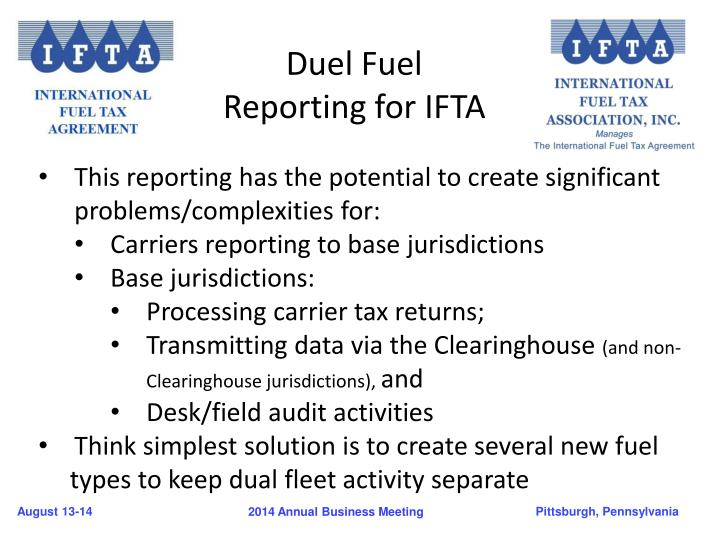 Duel Fuel Reporting for IFTA