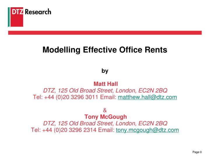 Modelling Effective Office Rents