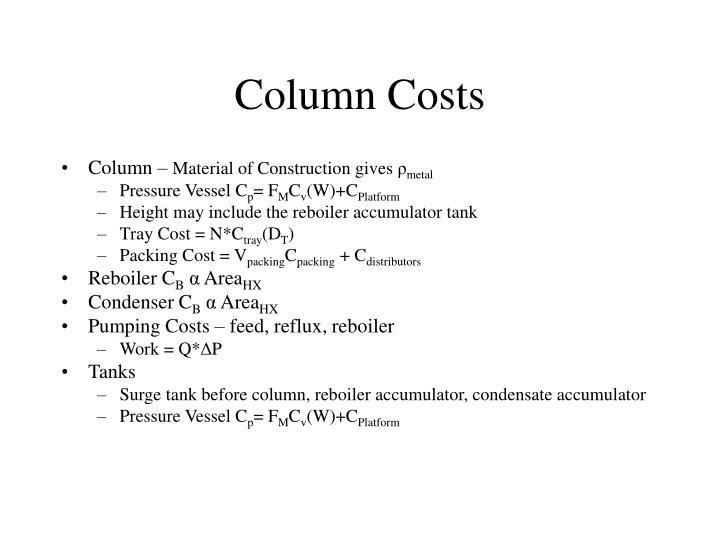 Column Costs