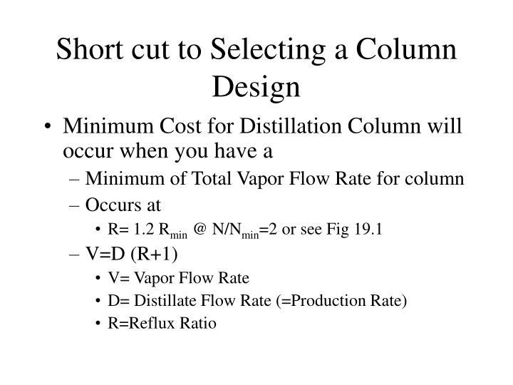 Short cut to Selecting a Column Design