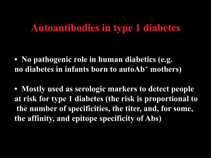 Autoantibodies in type 1 diabetes