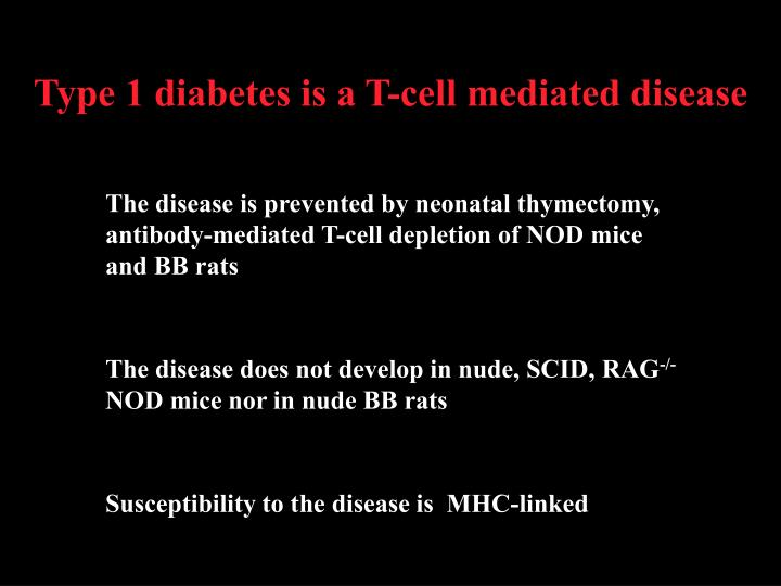 Type 1 diabetes is a T-cell mediated disease